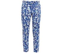 Brigitte Printed Stretch-cotton Canvas Tapered Pants Blue