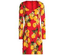 Embellished printed silk-blend mini dress