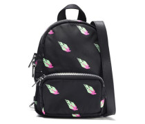 Woman Leather-trimmed Printed Shell Backpack Black