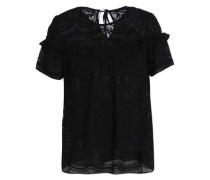 Ruffled embroidered georgette top