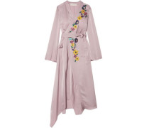Woman Wrap-effect Embroidered Satin Midi Dress Lilac