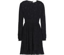 Gathered fil coupé chiffon mini dress