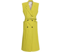Double-breasted Cotton-blend Crepe Gilet Lime Green