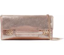 Metallic Cracked-leather Shoulder Bag Rose Gold Size --
