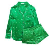 Woman Alba Printed Silk-satin Pajama Set Green