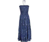 Strapless Printed Twill Midi Dress Navy