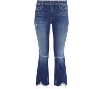 Selena cropped distressed mid-rise bootcut jeans