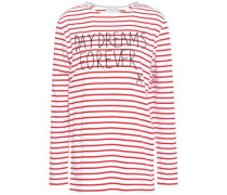 Printed Striped Cotton-jersey T-shirt White