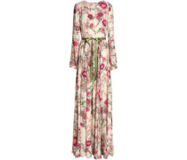 Satin-trimmed floral-print crepe gown