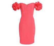 Floral-appliquéd crepe mini dress