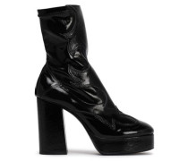 Vinyl And Patent-leather Platform Ankle Boots Black
