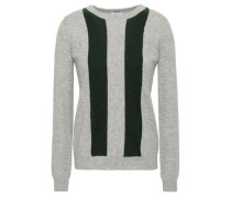 Sha Sta Striped Wool And Cashmere-blend Sweater Gray
