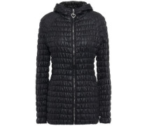 Woman Quilted Shell Hooded Jacket Black