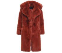Woman Faux Fur Coat Brick