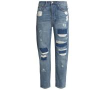 Distressed mid-rise boyfriend jeans