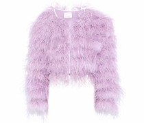 Lennox cropped feather-embellished mesh jacket
