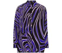 Printed Silk Crepe De Chine Shirt Purple