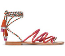Multicolored braided leather sandals