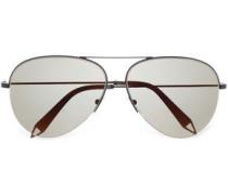 Classic Victoria aviator-style gunmetal-tone and acetate sunglasses