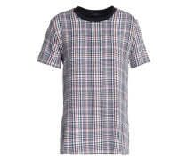 Prince of Wales checked cotton-jersey and silk-georgette T-shirt