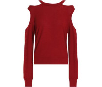 Cold-shoulder cutout French terry sweatshirt