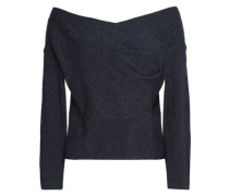 Off-the-shoulder draped merino wool and cashmere-blend sweater