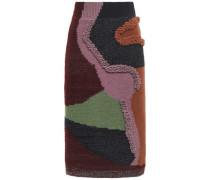Bouclé-trimmed Intarsia Cotton-blend Skirt Burgundy