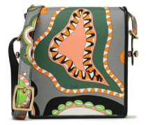 Leather-trimmed Printed Silk-twill Shoulder Bag Gray Size --