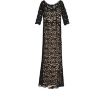 Fluted cotton-blend corded lace gown