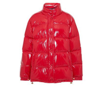Woman Embroidered Quilted Glossed-shell Down Coat Red