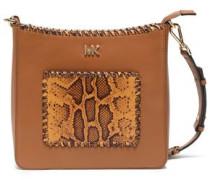 Snake Effect-paneled Leather Shoulder Bag Tan Size --