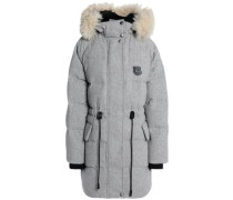 Shearling-trimmed Quilted Wool-blend Down Hooded Coat Gray