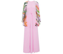 Printed chiffon-paneled layered silk crepe de chine gown