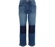 Cropped Patchwork Mid-rise Straight-leg Jeans Mid Denim  3