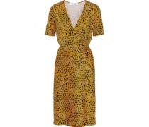 Floral-print Silk-jersey Wrap Dress Saffron