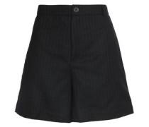 Pinstriped wool-blend twill shorts