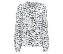 Pussy-bow Printed Silk-crepe Blouse Off-white