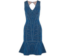 Fluted cutout pointelle-knit dress