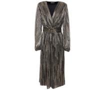 Woman Bellagio Wrap-effect Metallic Knitted Midi Dress Gold