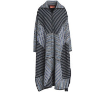 Patchwork-effect crochet-knit wool-blend coat