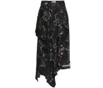 Asymmetric floral-print devoré silk-blend chiffon skirt