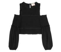 Pascal cold-shoulder shirred silk top