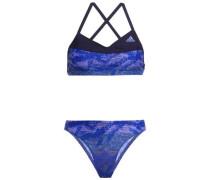 Printed Halterneck Bikini Blue