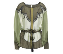 Woman Lace-trimmed Paneled Color-block Silk-chiffon Blouse Army Green