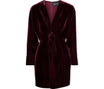 Twist-front Velvet Mini Dress Burgundy