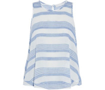 Striped cotton-gauze top