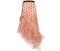 Asymmetric Tiered Polka-dot Silk-organza Midi Skirt Peach