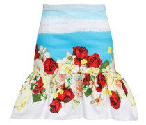 Fluted Stretch-cotton Mini Skirt Multicolor