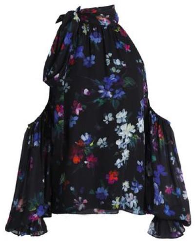 Cold-shoulder floral-print silk top