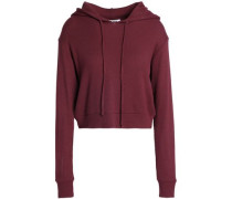 Cropped thermal stretch-modal jersey hoodie
